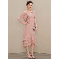 Square Neckline Asymmetrical Chiffon Mother of the Bride Dress With Appliques Lace Cascading Ruffles
