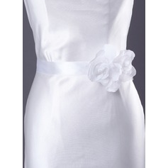 Elegant Satin/Organza Sash With Flower