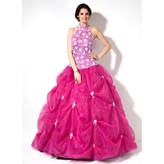 Ball-Gown Halter Floor-Length Organza Lace Quinceanera Dress With Ruffle