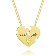 Custom 18k Gold Plated Silver Engraving/Engraved Two Heart Necklace (Set of 2) - Birthday Gifts Mother's Day Gifts