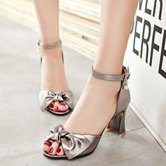 Women's Leatherette Chunky Heel Sandals Pumps Peep Toe With Rhinestone Bowknot Buckle shoes (087124718)