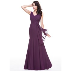 Trumpet/Mermaid V-neck Floor-Length Chiffon Evening Dress With Lace Cascading Ruffles