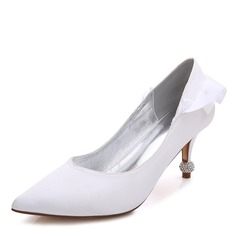 Women's Silk Like Satin Stiletto Heel Closed Toe Pumps With Crystal Heel