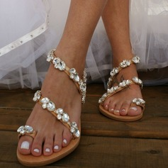 Women's Leatherette Flat Heel Flats Peep Toe Sandals With Crystal