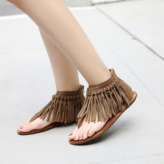 Women's Suede Flat Heel Sandals With Tassel shoes