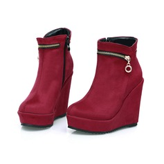 Women's Suede Wedge Heel Platform Wedges Ankle Boots With Zipper shoes (088098640)