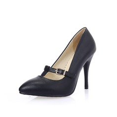 Women's Leatherette Spool Heel Pumps With Buckle shoes