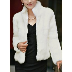 Faux Fur Long Sleeves Plain Shearling Coats Coats (1004161780)