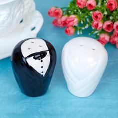 Bride & Groom Ceramic Salt & Pepper Shakers With Ribbons/Tag