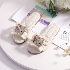 Girl's Peep Toe Microfiber Leather Slippers Flower Girl Shoes