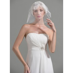 Two-tier Cut Edge Blusher Veils With Lace