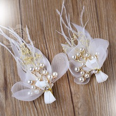 Beautiful Imitation Pearls/Feather Flowers & Feathers (Set of 2)