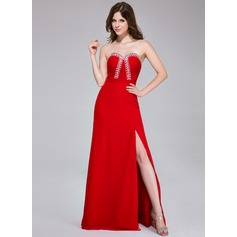 Sheath/Column Sweetheart Floor-Length Chiffon Prom Dresses With Ruffle Beading Split Front