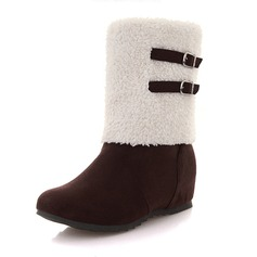 Women's Suede Flat Heel Flats Closed Toe Boots Snow Boots With Bowknot shoes