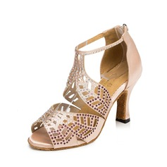 Women's Satin Heels Sandals Latin With Buckle Flower Dance Shoes