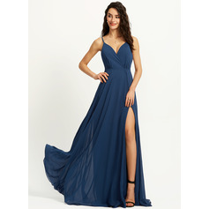 A-Line V-neck Floor-Length Prom Dresses With Split Front (272257082)