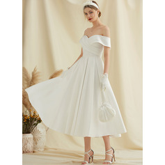 Tea-Length Satin Wedding Dress With Pockets (265255979)