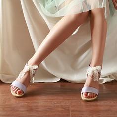 Frauen Kunstleder Flascher Absatz Sandalen Flache Schuhe Peep Toe mit Bowknot Schuhe