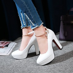 Women's Leatherette Chunky Heel Closed Toe Pumps With Rhinestone
