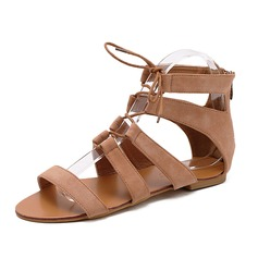 Women's Suede Flat Heel Sandals Peep Toe shoes