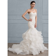 Trumpet/Mermaid Sweetheart Sweep Train Organza Lace Wedding Dress (002111943)