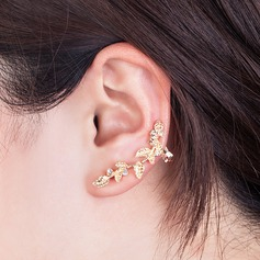 Leaves Shaped Alloy Rhinestones Gold Plated Women's Fashion Earrings