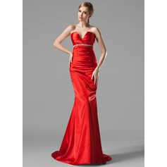 Trumpet/Mermaid V-neck Sweep Train Charmeuse Evening Dress With Ruffle Beading (017002534)