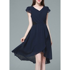 With Stitching/Resin solid color Knee Length Dress (199127507)