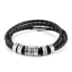 Men Braided Leather Bracelets With Custom Beads In Silver - Father's Day Gifts (106227801)
