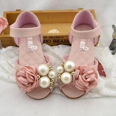 Girl's Leatherette Flat Heel Peep Toe Mary Jane Flats With Imitation Pearl Satin Flower Velcro