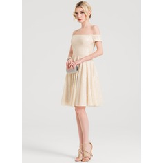 A-Linie/Princess-Linie Off-the-Schulter Knielang Pailletten Cocktailkleid