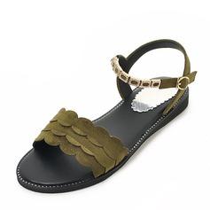 Women's Suede Flat Heel Sandals Flats With Buckle shoes