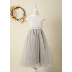 Tea-length Flower Girl Dress - Tulle Lace Short Sleeves Scoop Neck (269246133)