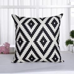 Scandinavian Geometric Printed  Linen Pillowcases (Sold in a single piece)
