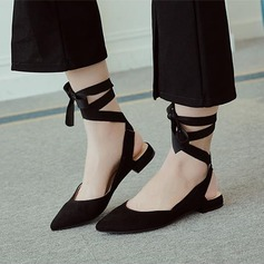 Women's Suede Low Heel Flats Slingbacks With Lace-up shoes