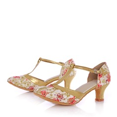 Women's Leatherette Fabric Heels Sandals Ballroom With T-Strap Hollow-out Dance Shoes
