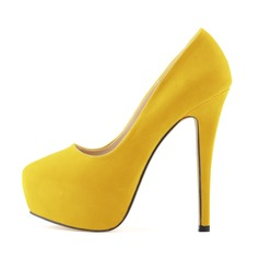 Women's Suede Leatherette Stiletto Heel Pumps Platform Closed Toe shoes