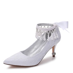 Women's Lace Silk Like Satin Stiletto Heel Closed Toe Pumps With Bowknot Imitation Pearl Rhinestone Ribbon Tie Pearl