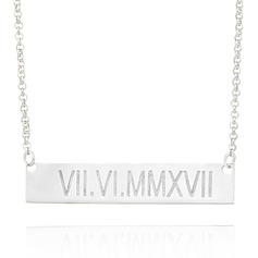Custom Sterling Silver Engraving/Engraved Bar Necklace - Valentines Gifts