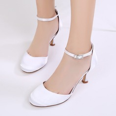 Women's Silk Like Satin Stiletto Heel Closed Toe Pumps Sandals