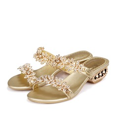 Frauen Echtleder Niederiger Absatz Sandalen Mary Jane Beach Wedding Shoes mit Strass