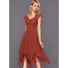 A-Line V-neck Asymmetrical Chiffon Cocktail Dress With Cascading Ruffles (270253215)
