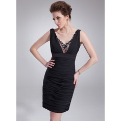Sheath/Column V-neck Short/Mini Chiffon Cocktail Dress With Ruffle Beading Sequins