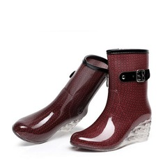 5520d923212 Women s PVC Wedge Heel Wedges Boots Mid-Calf Boots Rain Boots With Buckle  Zipper Jewelry