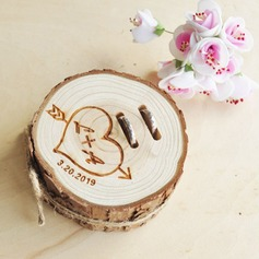 Elegant/Classic/Personalized Wood Ring Holder With Rustic Twine (103201140)