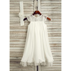 Tea-length Flower Girl Dress - Chiffon Sleeveless Scoop Neck With Lace (269193599)