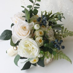 Elegant Round Satin Bridal Bouquets/Bridesmaid Bouquets (Sold in a single piece) - Bridal Bouquets