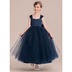 Ball Gown Ankle-length Flower Girl Dress - Satin/Tulle Sleeveless Sweetheart With Bow(s)