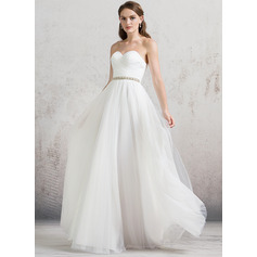 A-Line/Princess Sweetheart Floor-Length Tulle Wedding Dress With Ruffle Beading