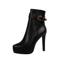 Women's PU Stiletto Heel Pumps Platform Closed Toe Boots Ankle Boots With Buckle Zipper shoes